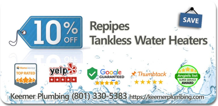 10% off Repipes and Tankless Water Heaters